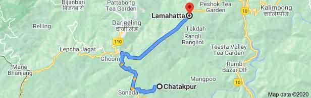 Chatakpur to Lamahatta Distance