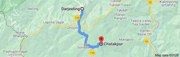 Darjeeling to Chatakpur Distance