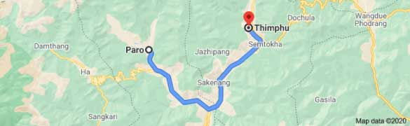 Paro to Thimphu Distance