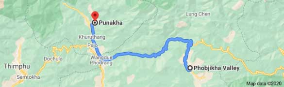 phobjika valley to punakha distance