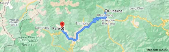 punakha to paro distance