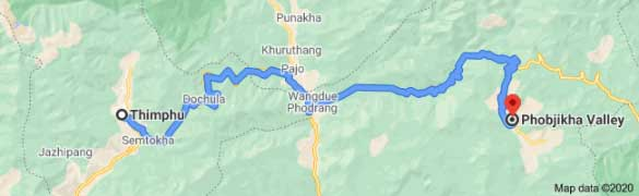 Thimphu to Phobjika Valley Distance