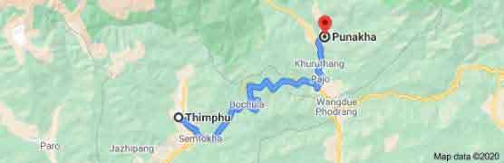 thimphu to punakha distance